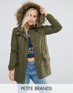 Noisy May Petite Parka Jacket With Faux Fur Trim Hood at asos.com  Petite jacket by Noisy May Petite, Woven fabric, Lined design, Drawstring hood, Faux-fur trim, Zip fastening, Drawstring mid-section, Press stud placket, Functional pockets, Regular fit - true to size, Machine wash, 100% Polyester, Our model wears a UK S/EU S/US XS. ABOUT NOISY MAY PETITE The younger and louder sibling of Danish brand Vero Moda, Noisy May is your go-to label for fashion-forward denim. Their petite collection…