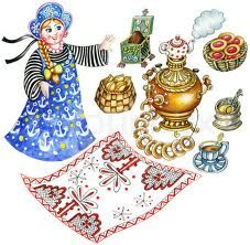 """Buy the royalty-free Stock image """"Traditional Russian tea party. Set of hand painted images:"""" online ✓ All image rights included ✓ High resolution pictu. Honey Images, Tea Illustration, Russian Tattoo, Tea Party Setting, Russian Tea, Princess And The Pea, Celebrate Good Times, The Little Mermaid, Cha Cha"""
