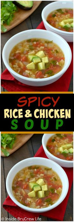 Spicy Rice and Chicken Soup - this easy soup recipe is loaded with chicken, rice, and tomatoes! Great 30 minute dinner idea for chilly days!