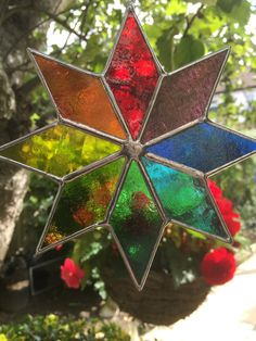 Multi Coloured Art Star Stained Glass by CRhodesGlassArt on Etsy