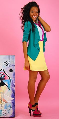 Cute work fun and bright colorblock outfit