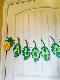 Aloha banner pineapple party decoration party by TexasDaisyDesigns