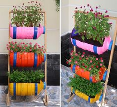 Hello everyone, today I am going to show you how to make a beautiful vertical garden, recycled from plastic bottles. Just take advantage of the old plastic bottles, wooden bars, we can create a cute vertical flower garden. Plastic Bottle Planter, Plastic Bottle Crafts, Recycle Plastic Bottles, Jardim Vertical Diy, Vertical Garden Diy, Diy Garden Projects, Garden Crafts, Garden Ideas, House Plants Decor