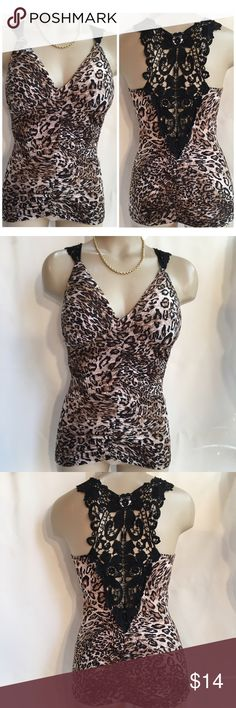 """Hendi Animal Print Lace Accent Top S VG pre owned, no flaws. 95% polyester, 5% spandex.  Pull on style with lightly padded inner chest liner.   Front & back side center ruched/gathered. 34"""" chest, 24"""" length Hendi Tops Camisoles"""