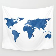 Wall Tapestry, Wall Hanging, Blue Tapestry, World Map Tapestry, Design 121 World Map blue white Home Decor art L.Dumas by artbyLucie on Etsy World Map Tapestry, Dorm Tapestry, Blue Tapestry, Tapestry Bedroom, Tapestry Wall Hanging, Tapestries, Wall Hangings, Blue Rooms, Blue Bedroom