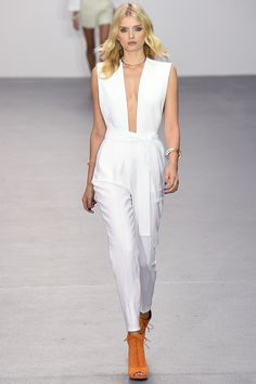 Issa | Spring 2016 Ready-to-Wear | 02 White belted sleeveless jumpsuit #fashion #springfashion #springfashion2016