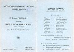 """""""Retablo infantil"""" de Antonio Martínez Ballesteros por el Grupo Pigmalión en la Casa de Cultura Cuenca Octubre 1976 #Cuenca #TeatroInfantil #CasaCulturaCuenca #GrupoPigmalion"""