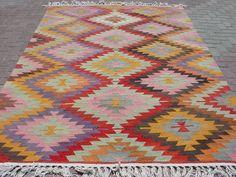 vintage turkish kilim rug.