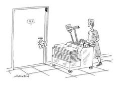 Premium Giclee Print: Hotel cleaning woman pushing supply cart reads guest's door sign that says… - New Yorker Cartoon by Mick Stevens : Hotel Cleaning, Cleaning Service, New Yorker Cartoons, Door Signs, Giclee Print, Woman, Sayings, Reading, Lyrics