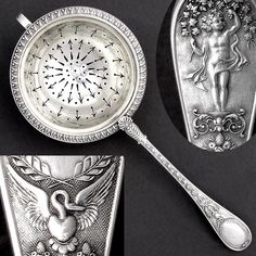A gorgeous antique French sterling silver tea strainer with ornate figural handle. Embellished at the handle with scrolling grape vine and leaves followed by various neoclassical decoration, including palmettes, cornucopias, and an egg and dart motif bordering the bowl. A stylized swan decorates the tip of the handle surrounding a blank cartouche medallion, which is free of any monogram so its perfect to personalize with your own engraved initials. To the reverse is a charming scene of a… Tea Strainer, Tea Infuser, Engraving Art, Tea Canisters, Sterling Silver Flatware, Tea Art, Teacups, French Antiques, Antique Silver