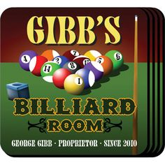 "Billiards Personalized Beer Coaster Set. The billiards enthusiast and pool shark will appreciate these sets of four richly detailed, waterproof coasters, which reflect his fave activity. Our personalized coasters are a perfect accessory to any bar or family room. Our Billiards Personalized Coaster Set's personalized design is printed in full color onto a non-skid cork base. Includes 4 coasters and mahogany caddy for storage. Each coaster measures 3.75"" x 3.75"". Specify name, and year."