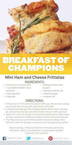 Breakfast of Champions: Mini Ham and Cheese Frittatas #PURecSports #Purdue #CoRec