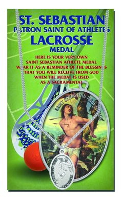 """+LACROSSE MENS Saint Sebastian 24"""" Chain Sport Medal Double Side Blessing HERCULES Series With Copyrighted Paul Herbert Blessing. LACROSSE MENS Saint Sebastian 24"""" Chain Artistic Devotional Sport Medal Double Side With Copyrighted Paul Herbert Blessing HERCULES Series. Stainless Steel Chain ( Male=24"""" Female=18"""") SEARCH AMAZON FOR """"SEBANO COINS"""" For Matching Piece. Metal is Genuine Pewter Back Side Shows Image of Sport. Excellent Gift of for Personal use With Copyrighted Paul Herbert..."""