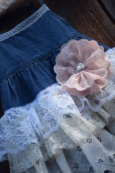 faebf2293b denim vintage linen and lace RUFFLE flower girl baby dress country wedding  easter shabby chic rustic burlap overalls bow 18 24 month 2t 3t