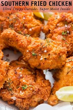 You guys, get ready for some serious indulgence. THE ULTIMATE Southern fried chicken here. This is simply the best fried chicken you'll ever make! Fried Chicken Dinner, Spicy Fried Chicken, Roast Chicken And Gravy, Making Fried Chicken, Buttermilk Fried Chicken, Fried Chicken Wings, Fried Chicken Recipes, Baked Chicken, Per Diem