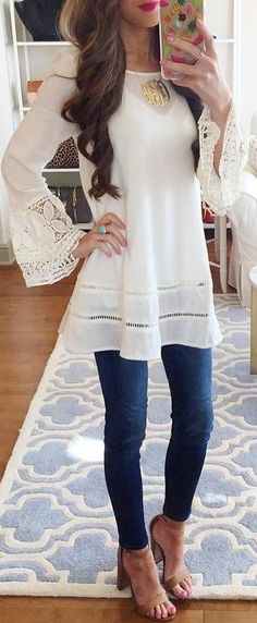 #summer #preppy #outfits    White Lace Bell Sleeve Top + jeans