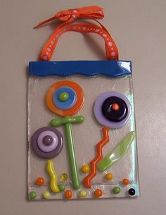 Fused Glass suncatcher  Cheerful Happy Button Folkart by shards57, $50.00