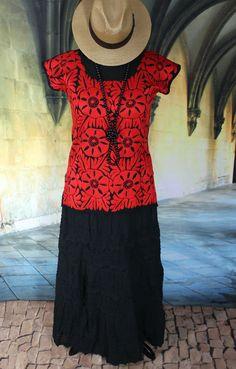Hand Embroidered Huipil Red & Black Blouse, Jalapa Oaxaca Mexico, Hippie, Boho #Handmade #Huipil