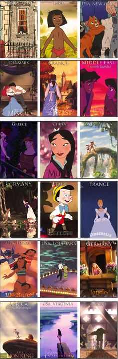 Disney movies around the world. Rapunzel, set in Germany? I thought Cinderella was set in Holland,. Disney Marvel, Disney Pixar, Arte Disney, Disney Facts, Disney Quotes, Disney Girls, Disney Love, Disney Magic, Disney And Dreamworks