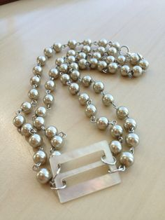 Vintage mother of pearl buckle necklace