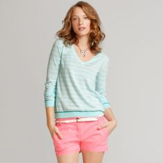 This outfit has two of this seasons hottest trends... stripes and bold colors. Love this look.
