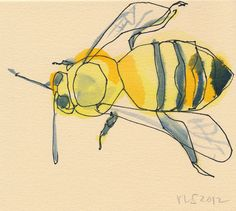 bee no. 2-original signed watercolor ink insect painting nature illustration. $30.00, via Etsy.
