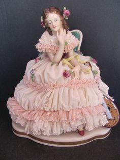 Antique Volkstedt Dresden Porcelain Lace Figurine - Lady With Mandolin | eBay