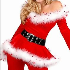 Women's Red White Velvet Trousers Imitation Fur Slim Christmas Multi Piece Costume (For Size M)
