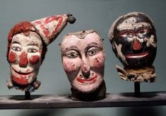 """Anonymous Works: Circa Folk Art Carved """"Punch and Judy"""" Puppet Heads Antique Toys, Vintage Toys, Vintage Circus, Ventriloquist Doll, Punch And Judy, Marionette Puppet, Puppet Show, Art Carved, Hand Puppets"""