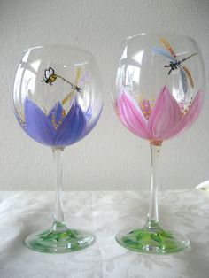 Hand painted wineglass Set Of Two