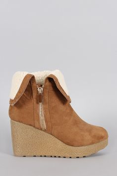 Bamboo Suede Faux Shearling Cuff Wedge Bootie