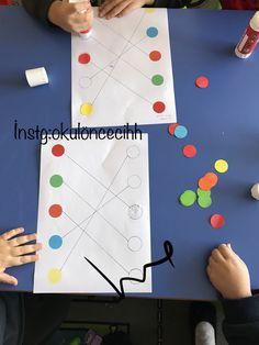Tira de papel, colada no círculo correspondente. Preschool Learning Activities, Indoor Activities For Kids, Toddler Activities, Preschool Activities, Kids Learning, Art For Kids, Crafts For Kids, Preschool Colors, Montessori Materials