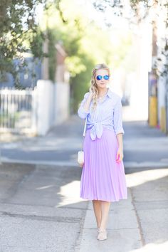 Pink pleated midi skirt (via @blueeyedfinch) #POPSUGARSelect