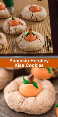 Pumpkin Hershey's Kiss Cookies These are the most adorable fall cookies – pumpkin blossom cookies! A spice cookie with pumpkin spice hershey's kisses turned into PUMPKINS! Holiday Desserts, Holiday Baking, Holiday Treats, Fall Baking, Christmas Baking, Christmas Cookies Kids, Best Holiday Cookies, Christmas Sweets, Thanksgiving Treats