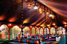 The Grand Marakesh from Raj Tents is a 27- by 44-foot Moroccan-theme tent that includes arches and silk string drops on all openings, a full... Photo: Courtesy of Raj Tents