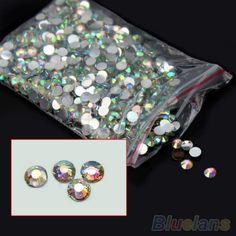 1000Pcs Nail Art Flatback Crystal AB 14 Facets Resin Round Rhinestone Beads 4mm #Eroute66US #Faceted