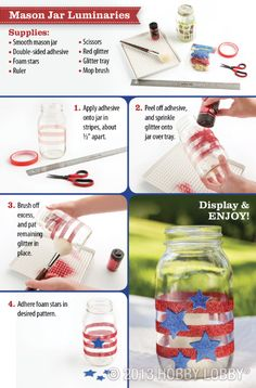 Make luminaries from mason jars for this fun and festive DIY Olympics craft.