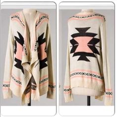 ⭐️LAST ONE!⭐️NWT Peach Tribal/Aztec Cardigan NWT Peach Tribal/Aztec Cardigan. Super cozy long sleeved open cardigan, no buttons. Material is a soft acrylic. Available in S/M (fits sizes 0-6)🚫No Trades and No Paypal🚫 Sweaters Cardigans