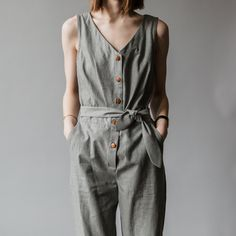 Charcoal Linen Jumpsuit
