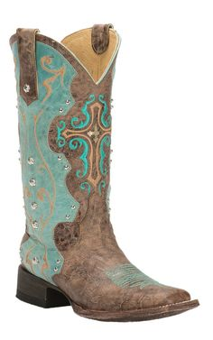 Cavender's by Old Gringo Women's Vintage Brown & Aqua Goat with Cross Square Toe Western Boots   Cavender's