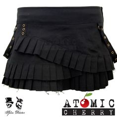 Spin Doctor Steampunk Ruffle Mini Skirt Black Gothic