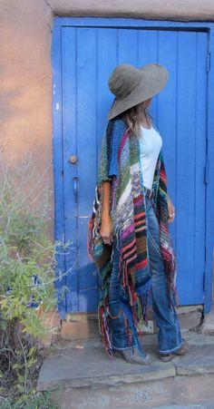LONG Handknit Womens Bohemian Festival Hippie Beach Poncho Cape Shawl by poshbygosh on Etsy https://www.etsy.com/listing/209474900/long-handknit-womens-bohemian-festival