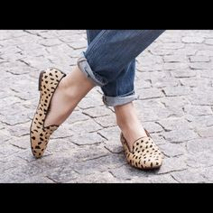 """Leopard print loafers printed calf hair that's surprisingly versatile.  Used and worn. Still in good condition.  •Calf hair upper. •1/2"""" stacked heel. •Leather lining. •Man-made sole. •Import. Madewell Shoes Flats & Loafers"""