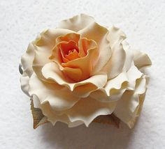 Polymer clay flower hair clip  with a large by SilverSeagullArt,