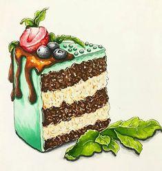 Cute Food Drawings, Cute Kawaii Drawings, Cool Art Drawings, Pencil Art Drawings, Food Art Painting, Dessert Illustration, Cake Drawing, Food Sketch, Watercolor Food