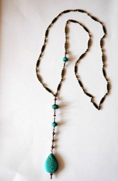 Antiqued Brass Long Necklace with Turquoise Gemstone by RawLuxGems