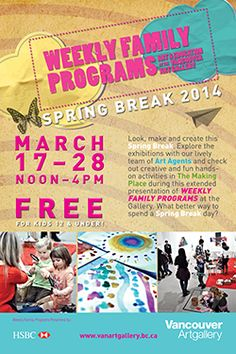 Weekly Family Programs @ Vancouver art gallery begins Mon, 17 Mar 2014 in #Vancouver at Vancouver Art Gallery Plaza Family, Visual Arts / Crafts, Entertainment