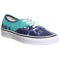Vans Authentic ($43) ❤ liked on Polyvore featuring shoes, sneakers, vans, trainers, navy turquoise tie dye, unisex sports, lacing sneakers, skate shoes, laced sneakers and vans shoes