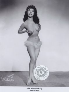 Fascinating Jennifer: vintage 8x10 photoJennifer began her burlesque career in 1954 in the chorus of the Casino Theater in a Boston, MA. Originally, she had no interest in preforming a striptease, until she saw Sequin (Geri Garner) perform. Sequin's act was classy, with no bumps and/or grinds, and Jennifer was inspired. She went on to develop her own act and by the late 1950s, she was performing 1st as a co-feature and then as a feature dancer. Jennifer retired from burlesque in 1963.