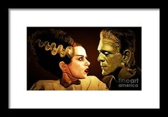 Frankenstein And The Bride I Have Love In Me The Likes Of Which You Can Scarcely Imagine 20170407 Framed Print by Wingsdomain Art and Photography  wingsdomain bride of frankenstein bride brides wives wife frankenstein love lover lovers marraige abstract contemporary art horror horror movie horror movies movie movies b movie